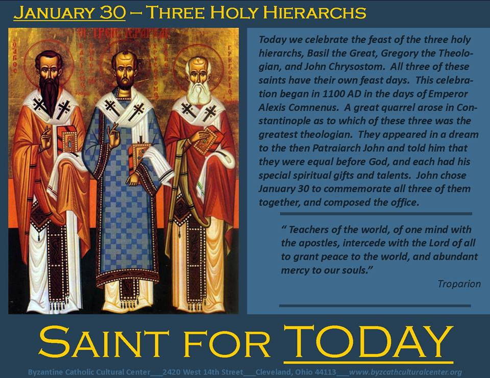 January 30 Three Holy Hierarchs